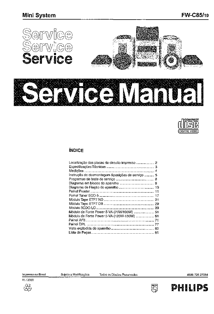 PHILIPS FWC85-19 Service Manual download, schematics