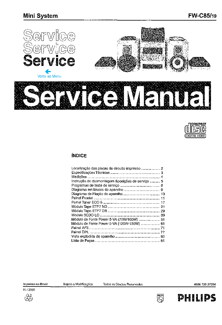 PHILIPS FWC85-19 480672527084 Service Manual download