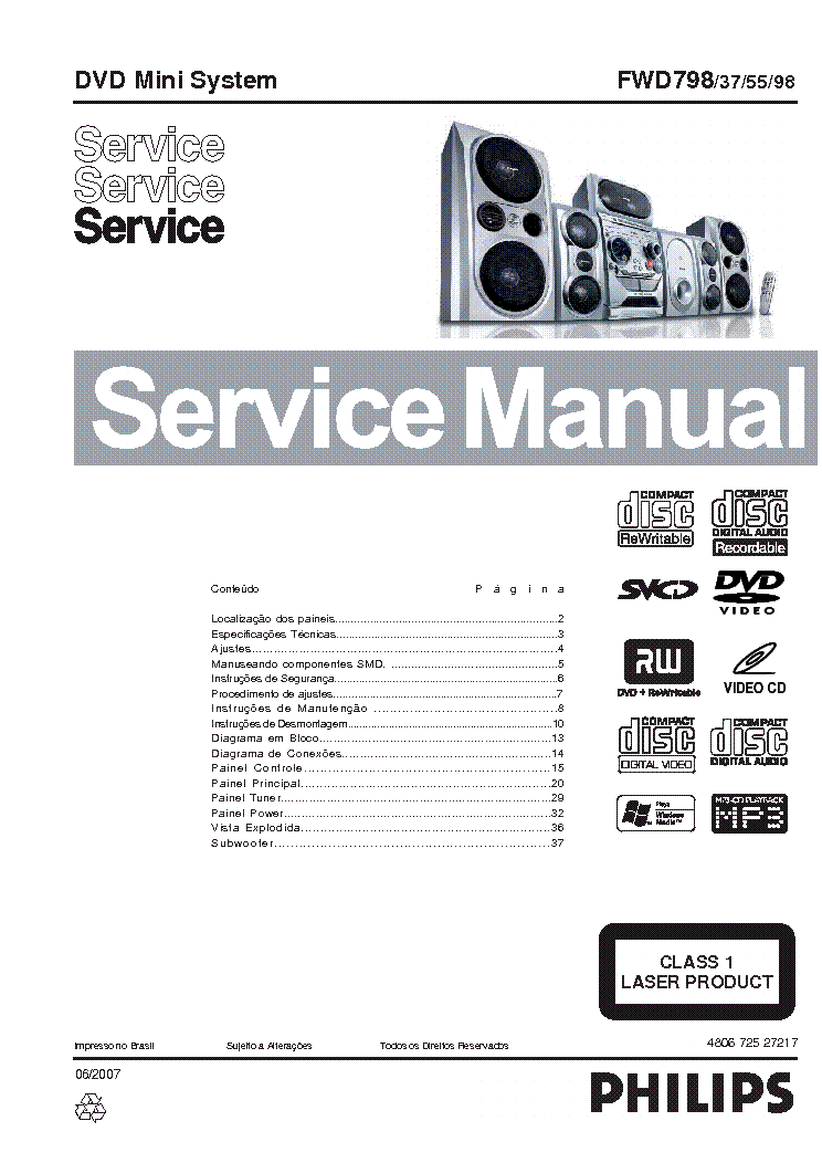 PHILIPS FWD798-37-55-98 SM Service Manual download