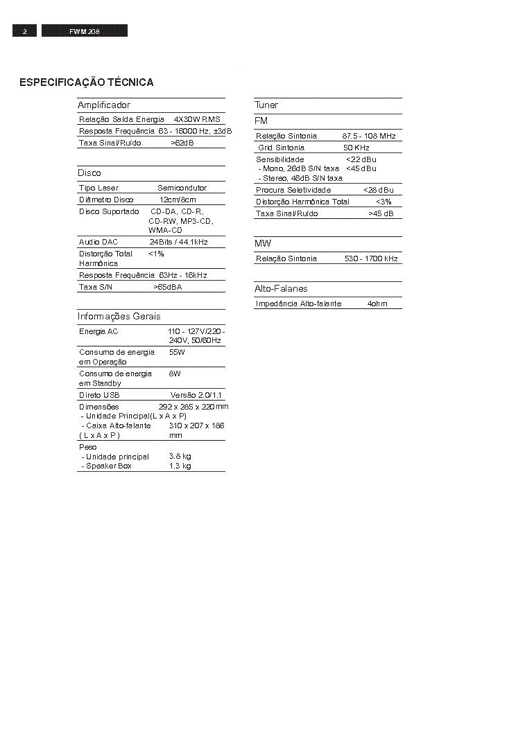 PHILIPS FWM208 Service Manual download, schematics, eeprom