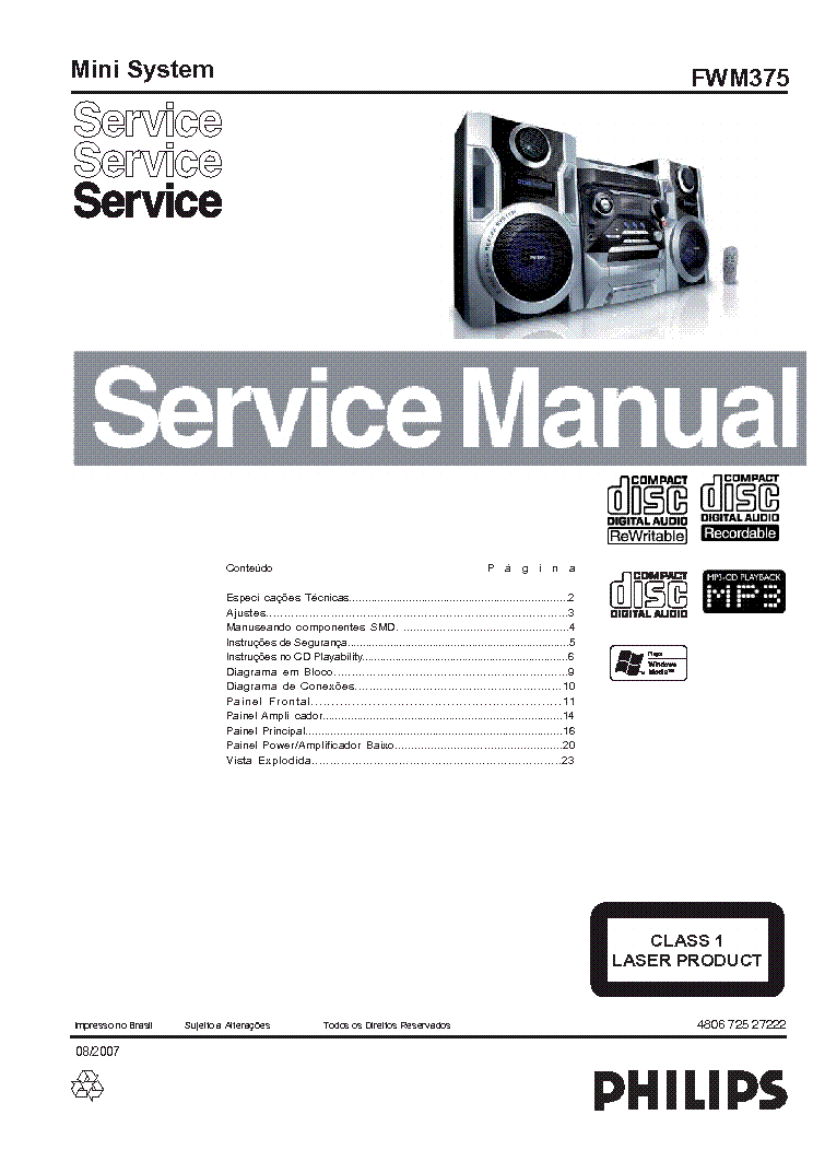 PHILIPS FWM375 SM Service Manual download, schematics