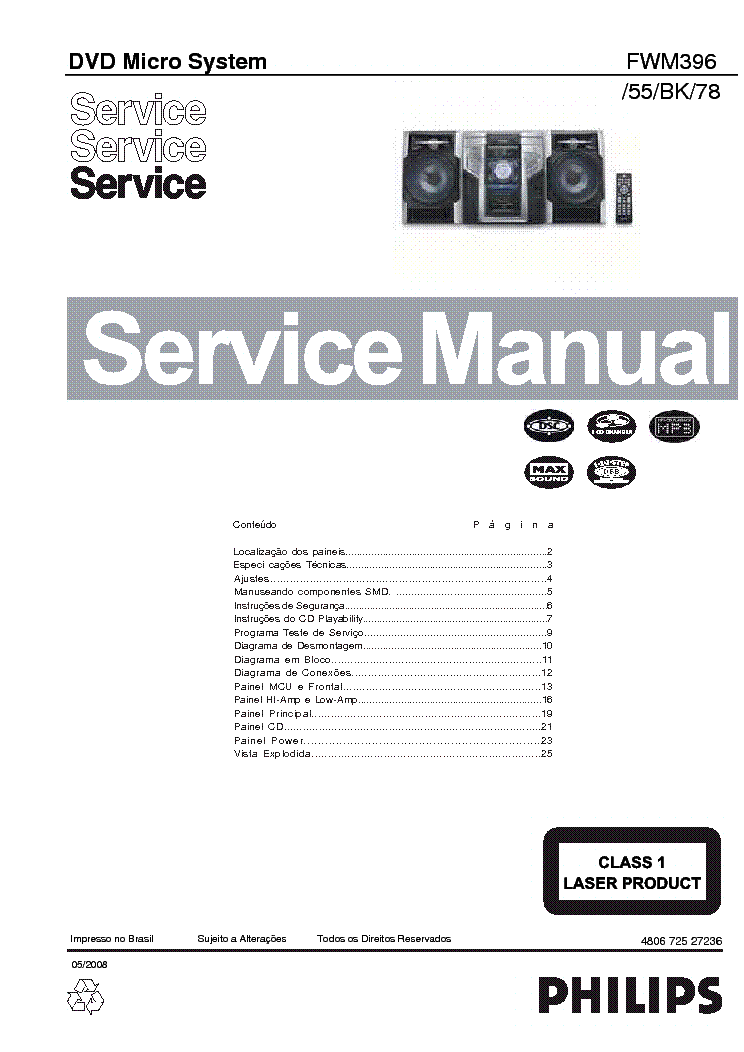 PHILIPS FWM396 55 BK 78 Service Manual download