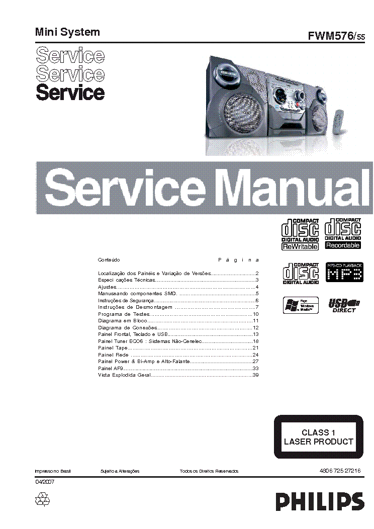 PHILIPS FWM576-55 SM Service Manual download, schematics