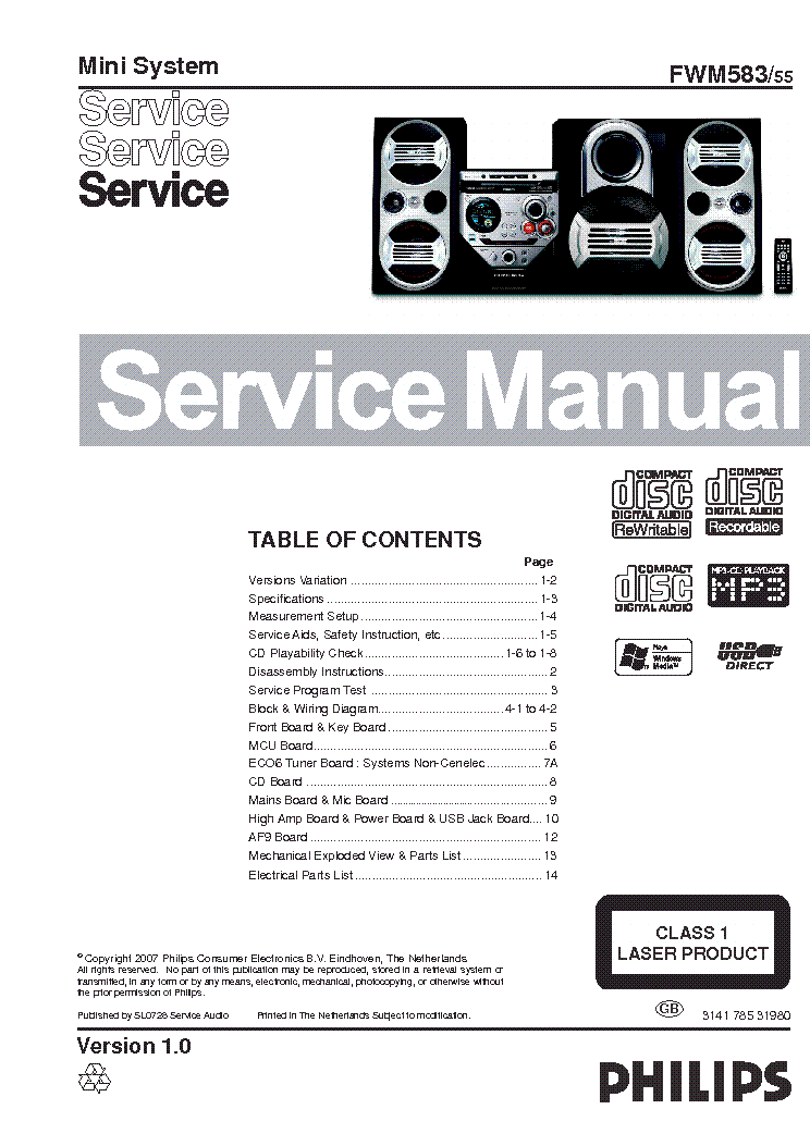 PHILIPS FWM583-55 Service Manual download, schematics