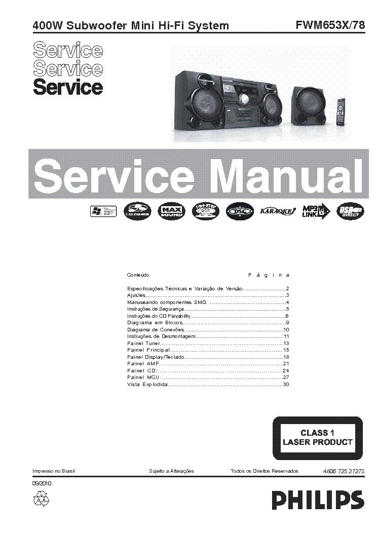 PHILIPS FWM653X-78 SUBWOOFER MINI SYSTEM SM Service Manual