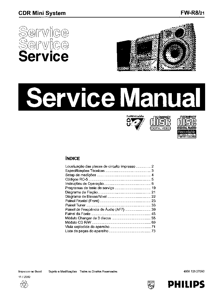 PHILIPS SANYO 3CD WECHSLER MECANISMO Service Manual
