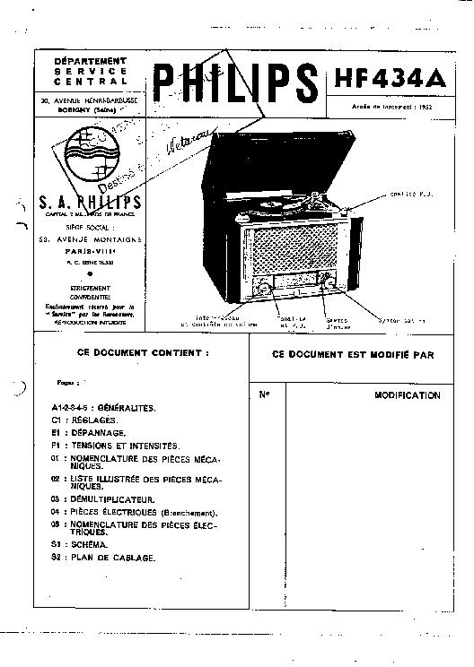 PHILIPS HX434A RADIO GRAMO 1952 SM Service Manual download