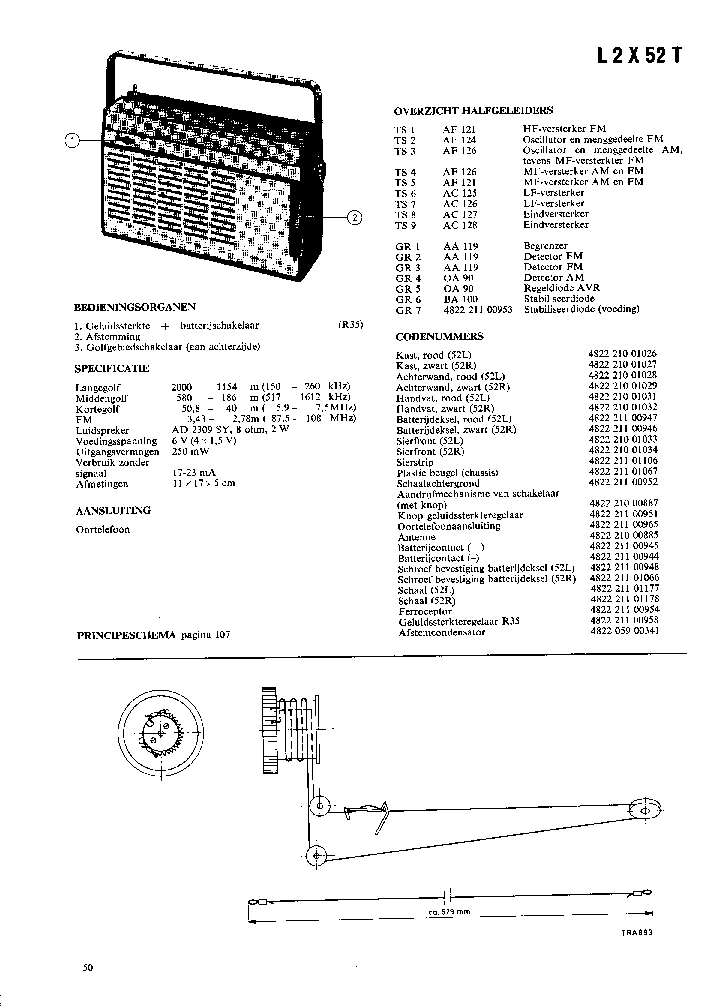 PHILIPS B2X60B BATTERY RADIO 1956 SM Service Manual free