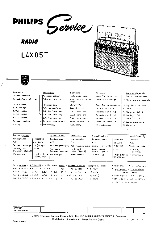 PHILIPS L4X05T PORTABLE RADIO SM Service Manual download