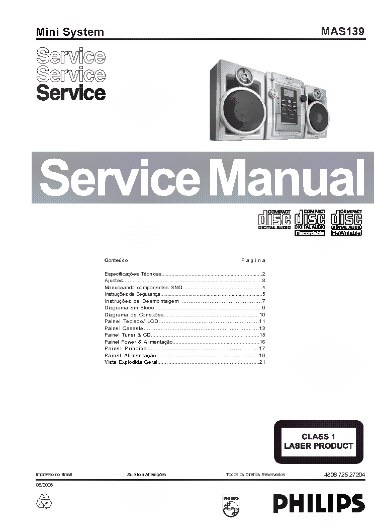PHILIPS MAS-139-MINI-SYSTEM Service Manual download