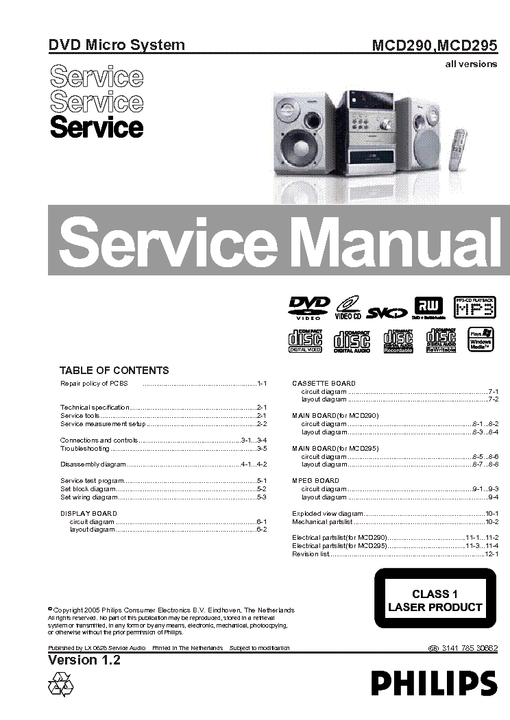 PHILIPS MCD290 MCD295 ALL VERSION Service Manual download