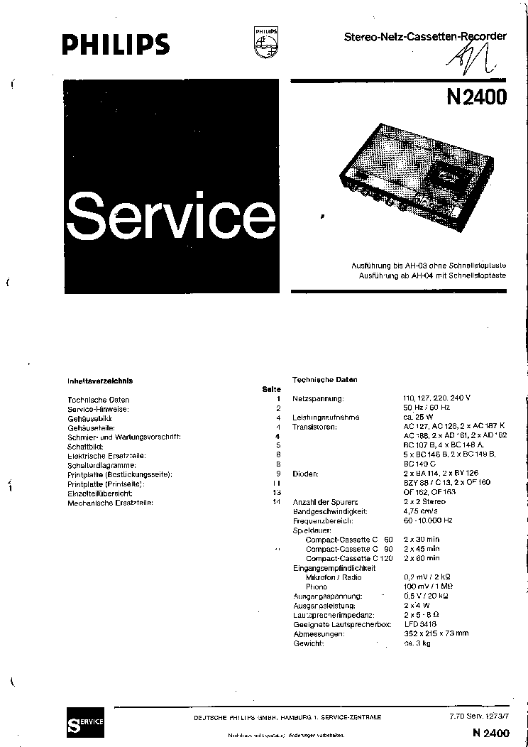 PHILIPS N-2400 SM Service Manual download, schematics