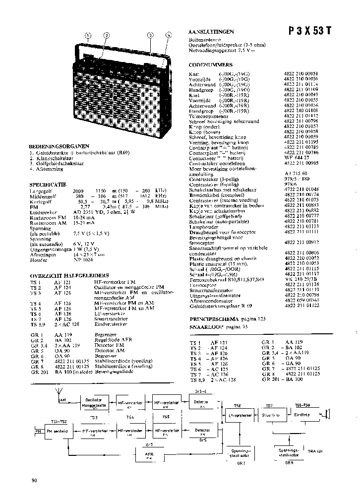 PHILIPS P3X53T PORTABLE RADIO SM Service Manual download