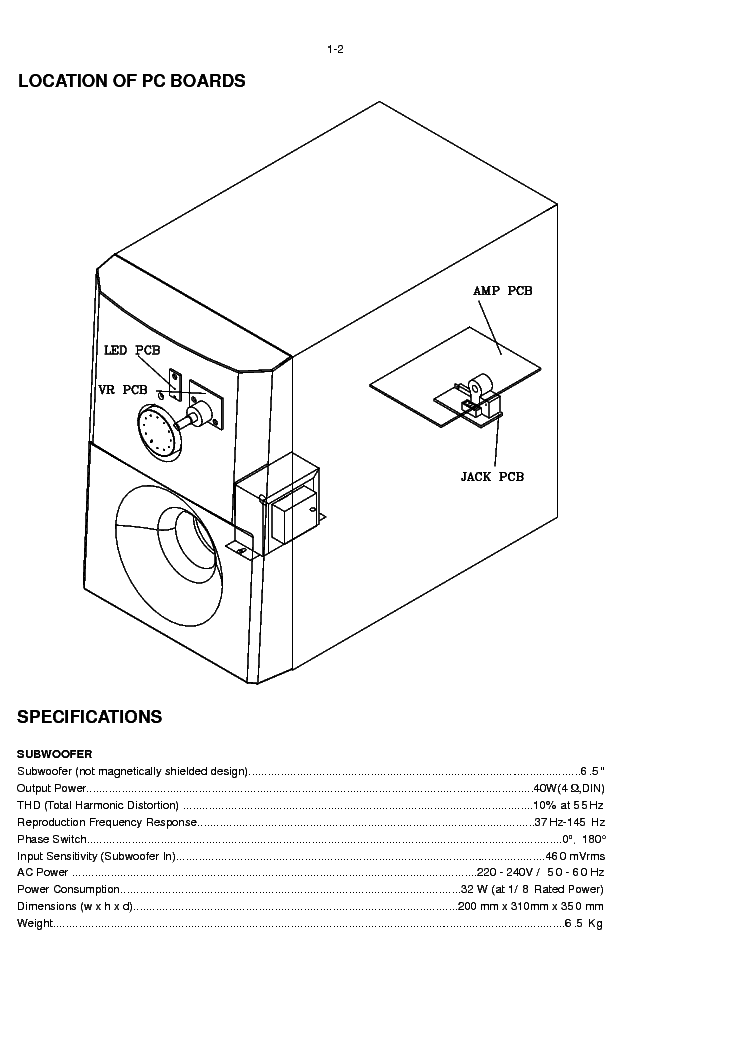 PHILIPS SW3660-SUB Service Manual download, schematics