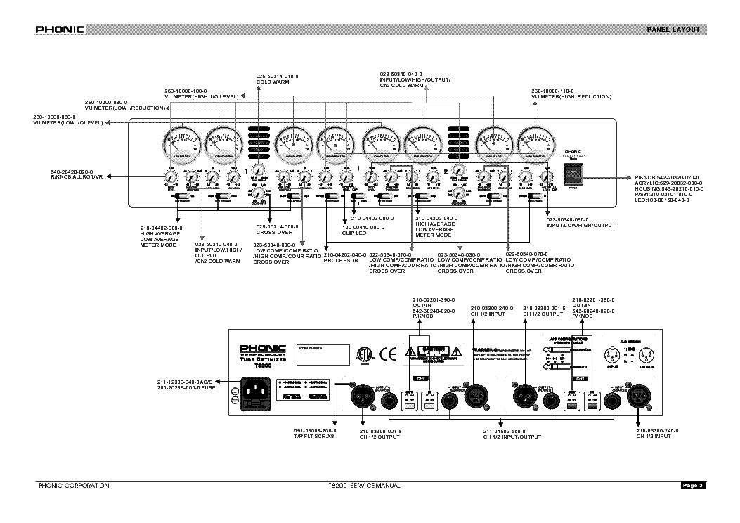 PHONIC T8200 Service Manual download, schematics, eeprom