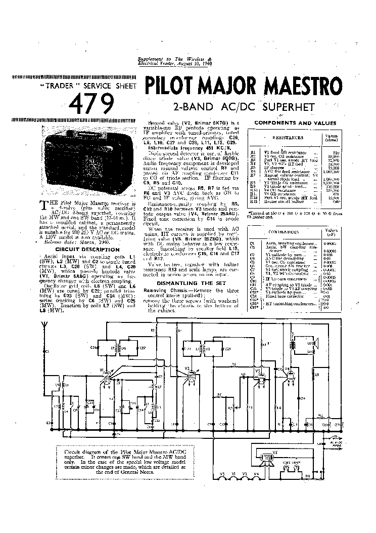 PILOT LITTLE MAESTRO MODEL-10 AC-DC RADIO 1949 SM Service