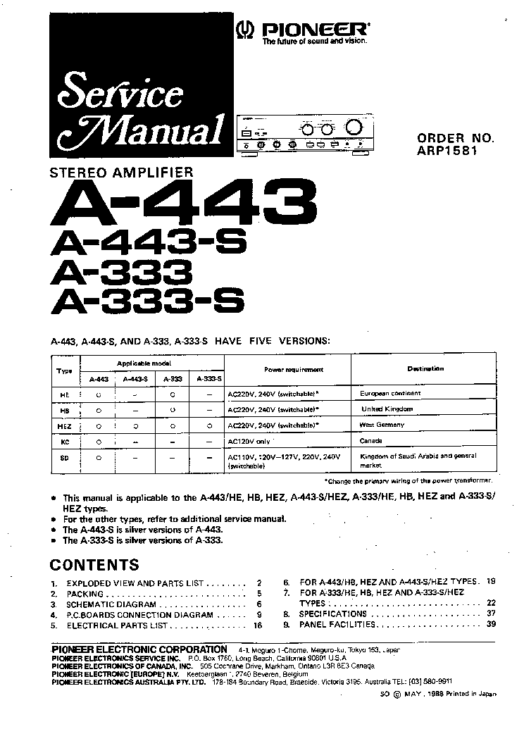 PIONEER A-333 A-443 SM Service Manual download, schematics