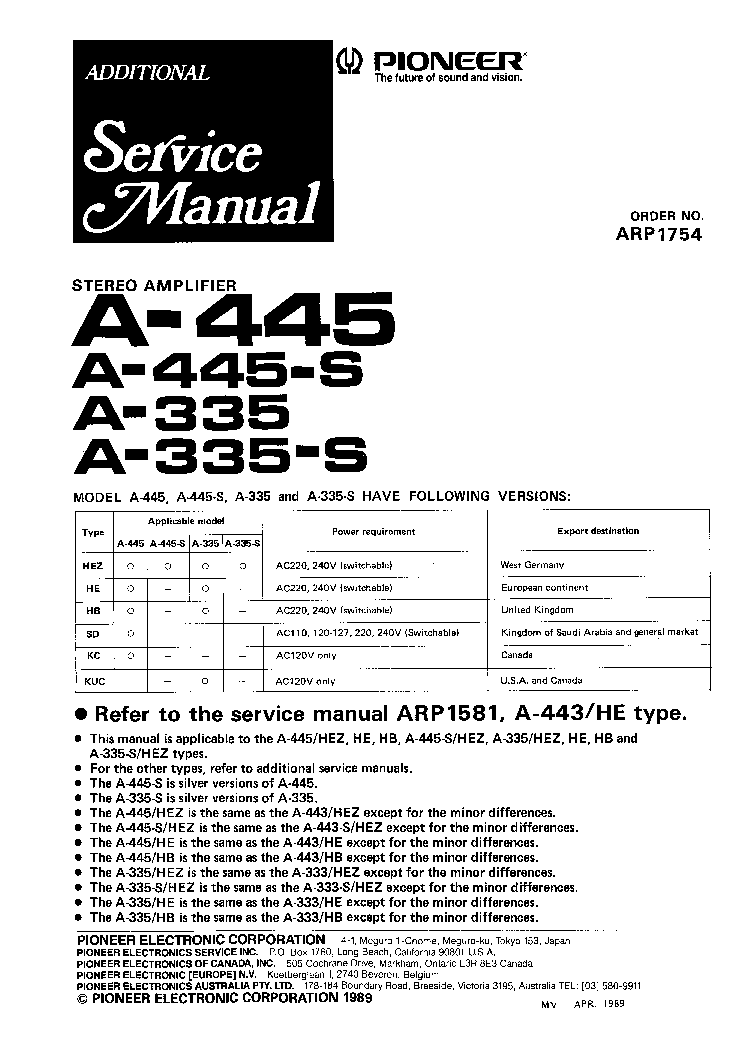 PIONEER A-335 A-445 Service Manual download, schematics