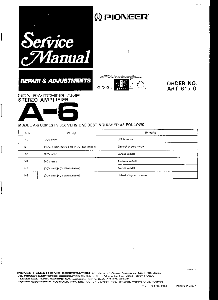PIONEER SX60 Service Manual download, schematics, eeprom