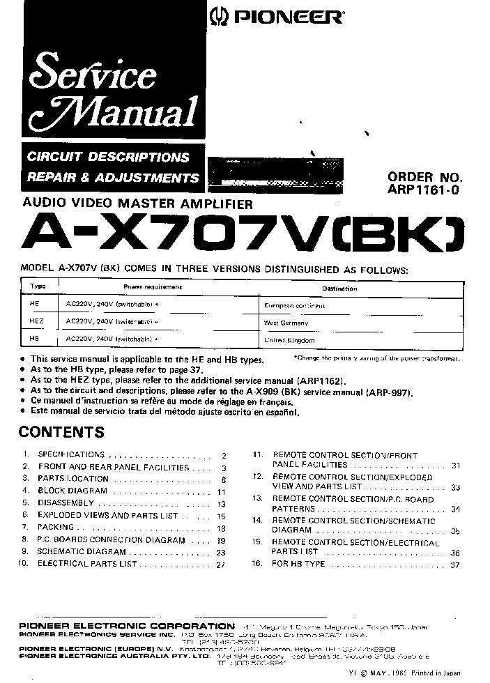 PIONEER A-X707V A-X707VBK Service Manual download
