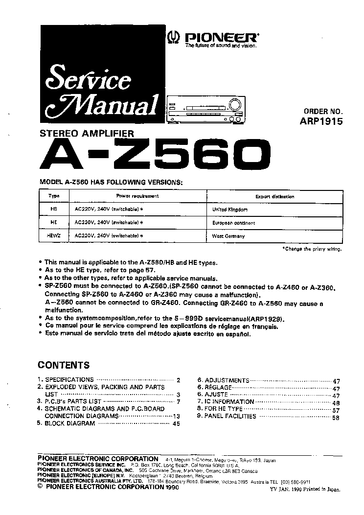 PIONEER A-Z560 SM Service Manual download, schematics