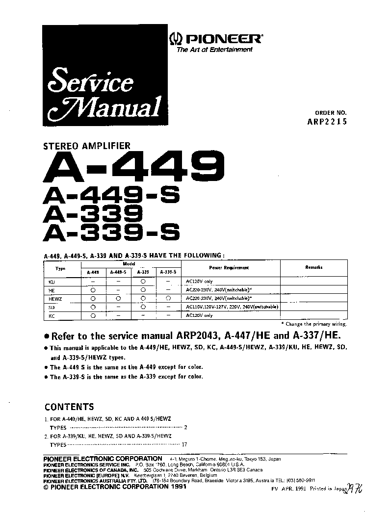 PIONEER A339 A449 SM Service Manual download, schematics