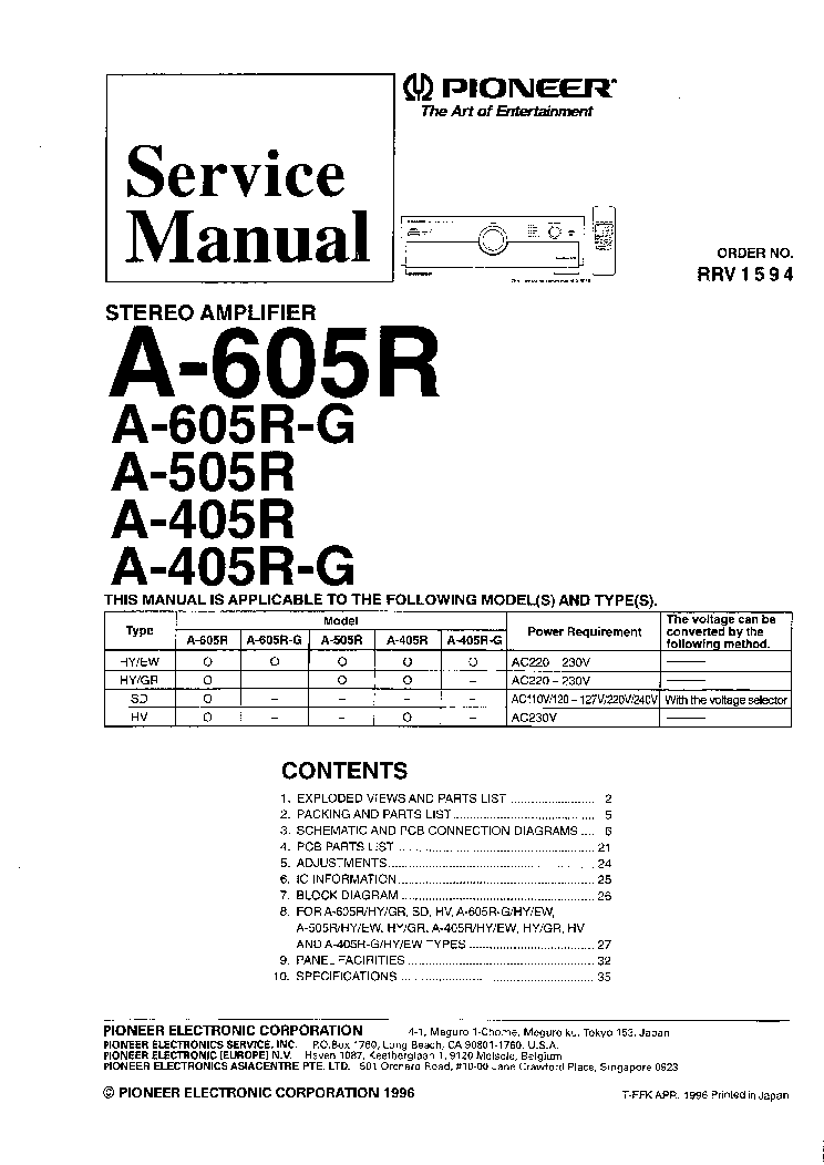 PIONEER A405R A505R A605R Service Manual download