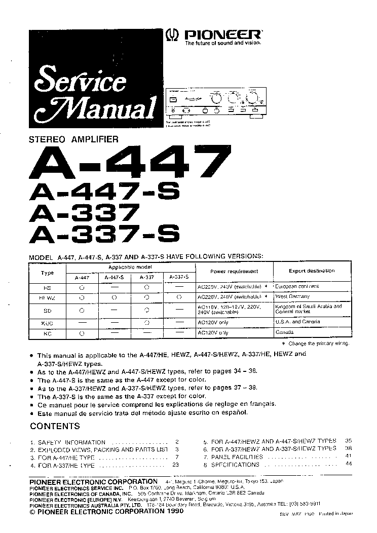 PIONEER SX-P520 Service Manual free download, schematics