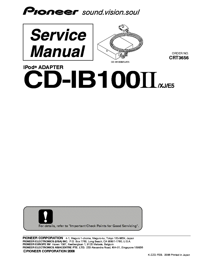 PIONEER CD-IB100II IPOD-ADAPTER SM Service Manual download
