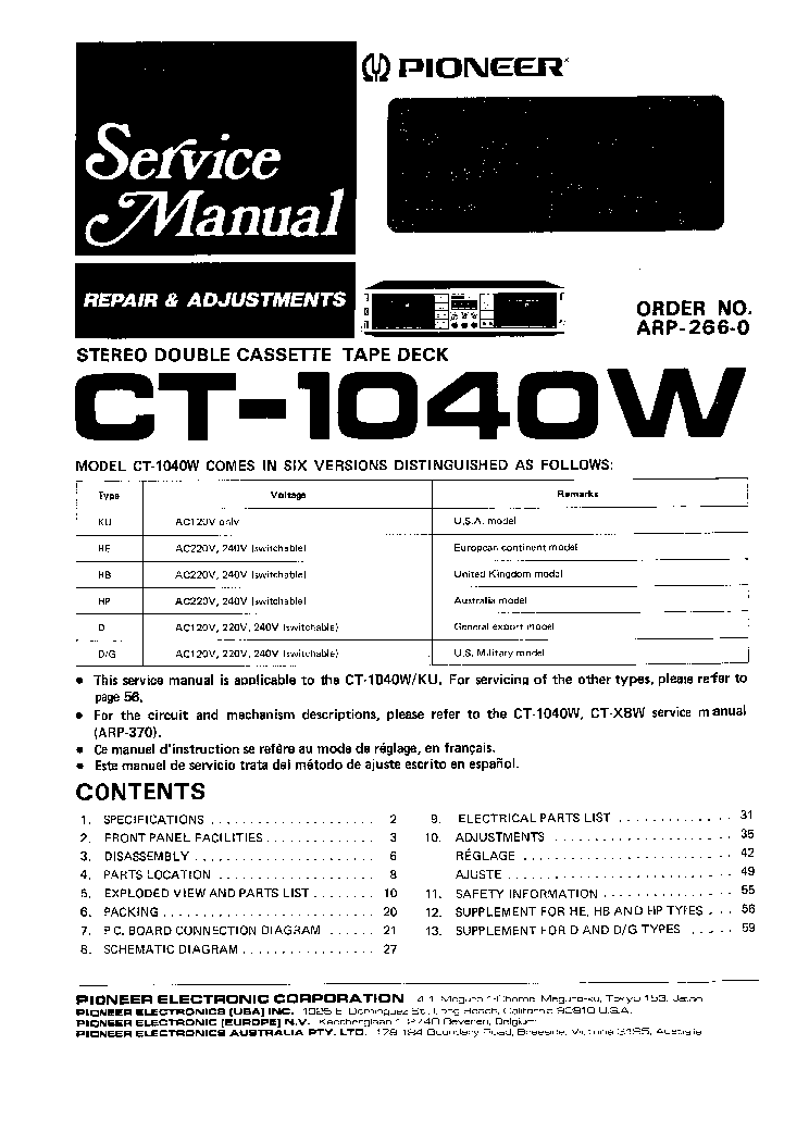 PIONEER CT-1040W Service Manual download, schematics