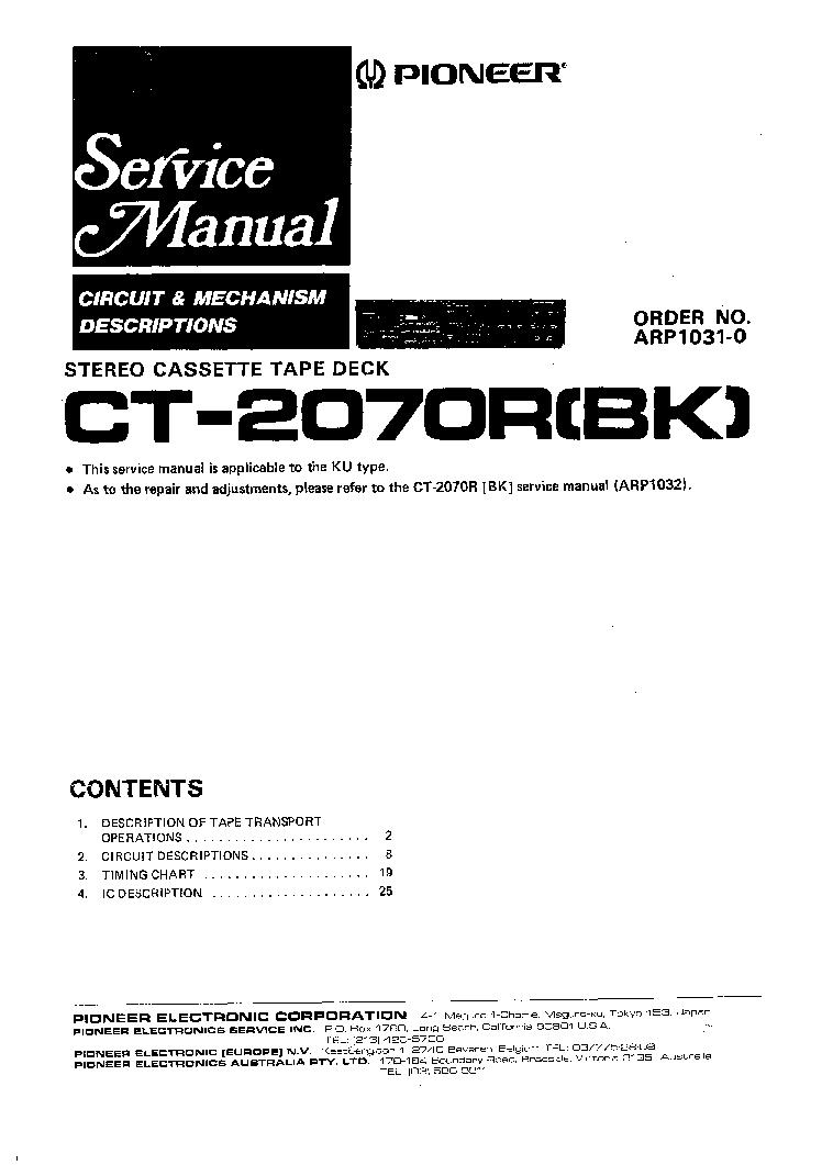 PIONEER CT-2070R Service Manual download, schematics