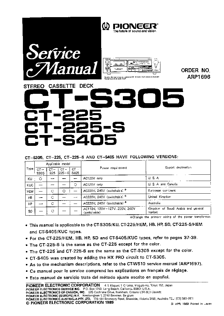 PIONEER PD-106 CD PLAYER SCH Service Manual download