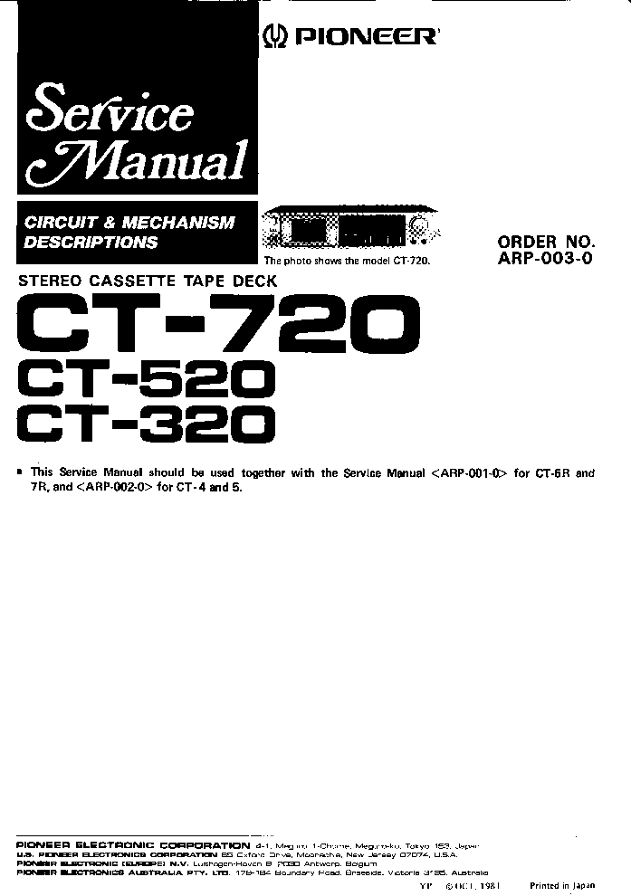 PIONEER CT-320 520 720 BLOCK-DIAGRAM Service Manual