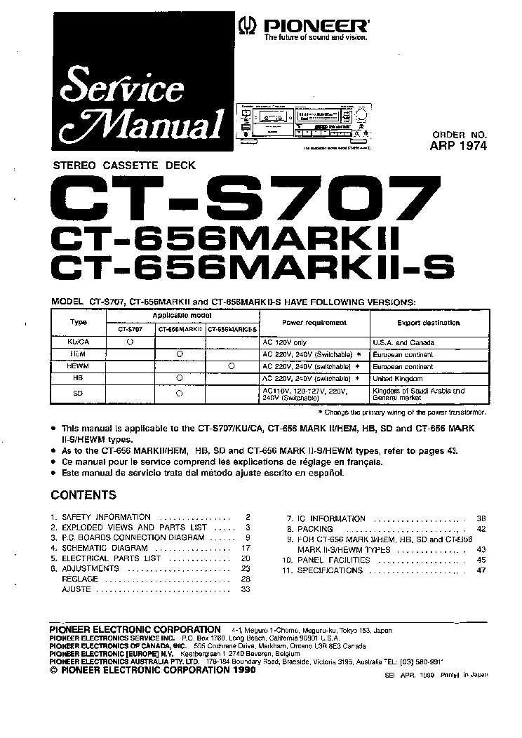 PIONEER CT-656MARK2-S S707 SM Service Manual download