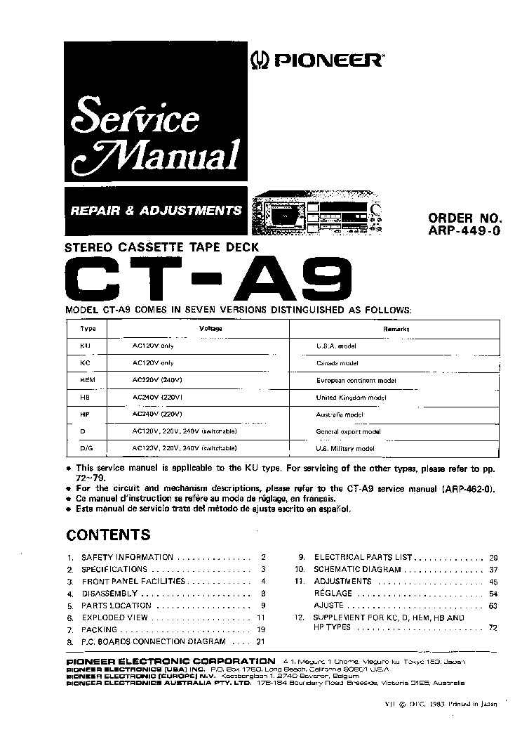 PIONEER CT-A9 SM 1 Service Manual download, schematics