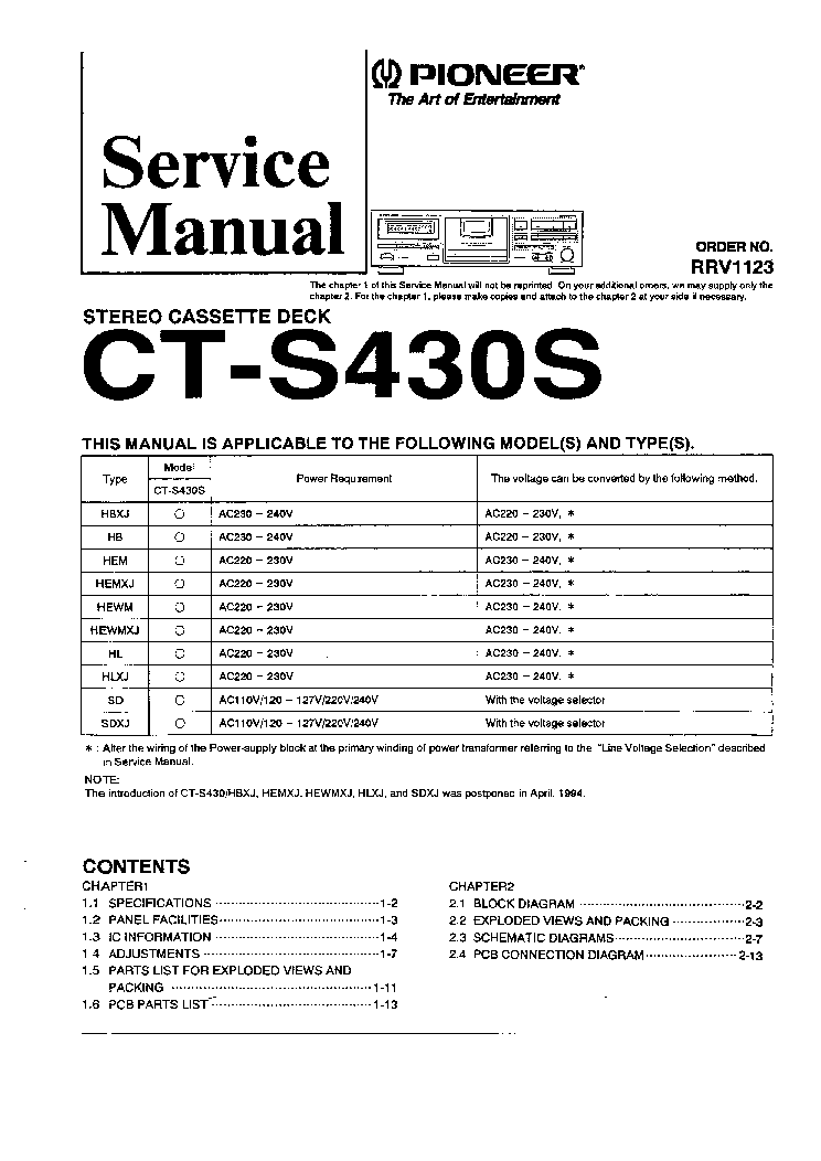 PIONEER CT-S430S STEREO CASSETTE DECK Service Manual