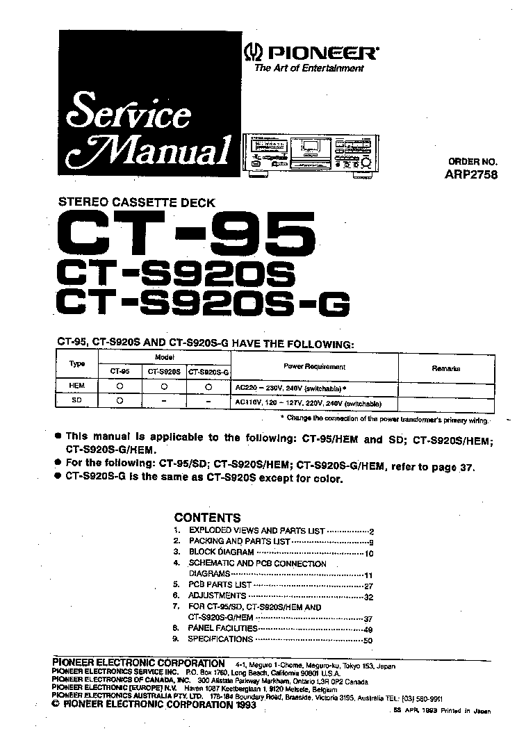 PIONEER CT-S920S CT-95 SM Service Manual download