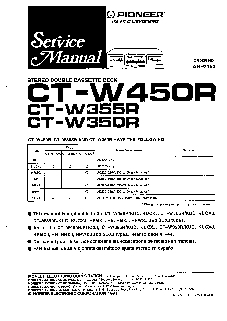 PIONEER CT-W350R W355R W450R SM Service Manual download