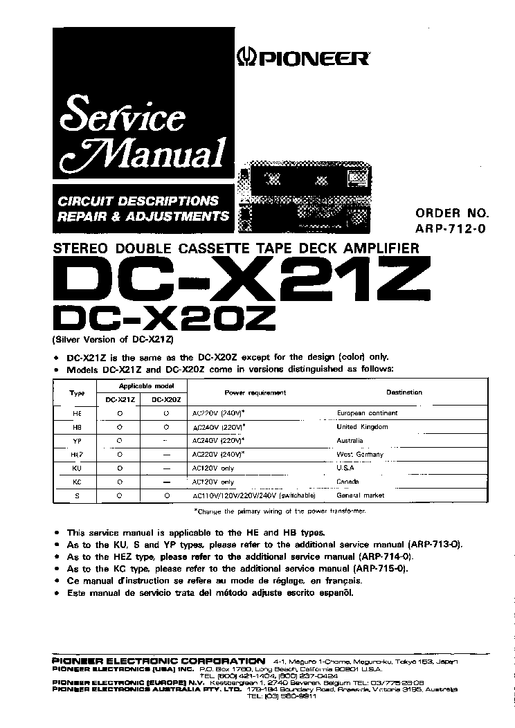 PIONEER DC-X21Z DC-X20Z ARP7120 Service Manual download