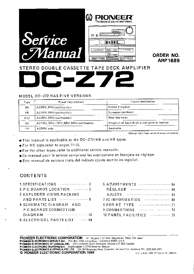 PIONEER DC-Z72 SM Service Manual download, schematics