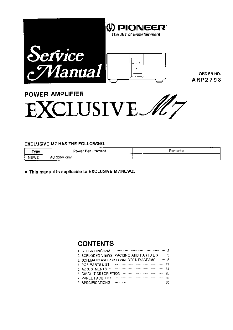 PIONEER EXCLUSIVE M7 Service Manual download, schematics