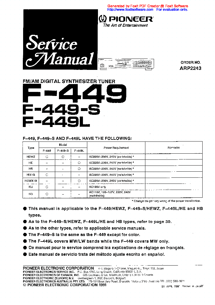 PIONEER F-449 S L SM Service Manual download, schematics