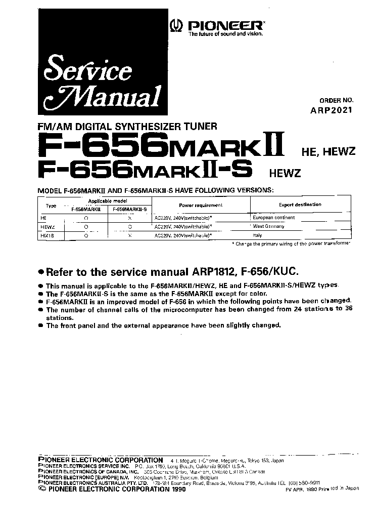 PIONEER F-656-S F-656MK-II ARP1812 Service Manual download