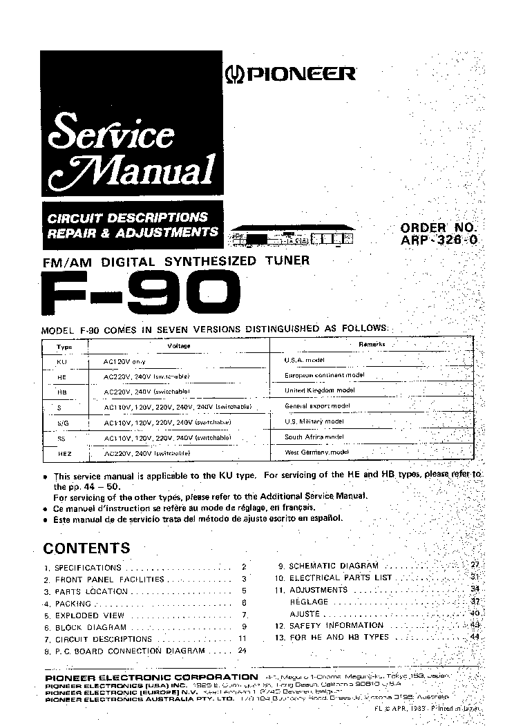 PIONEER SX-737 Service Manual free download, schematics