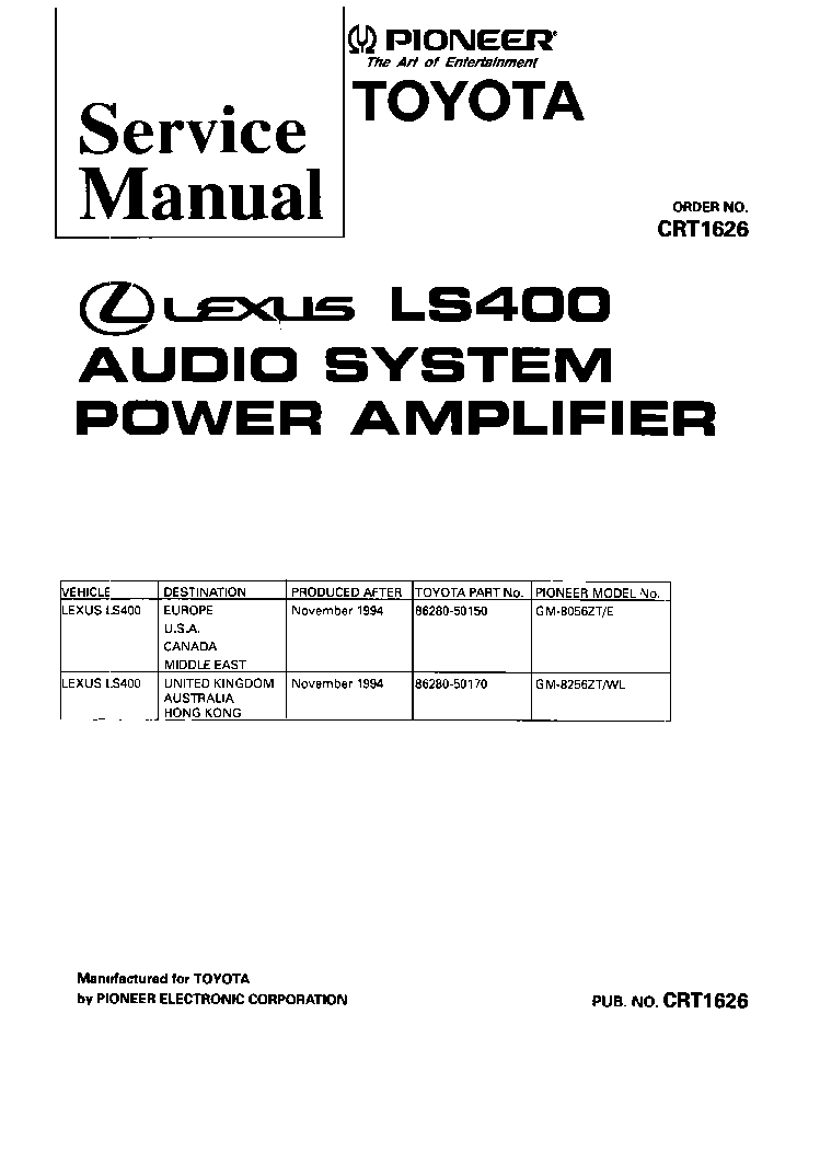 PIONEER GM-8056ZT 8256ZT Service Manual download