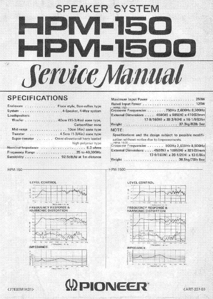 PIONEER HPM-150 HPM-1500 SM Service Manual download
