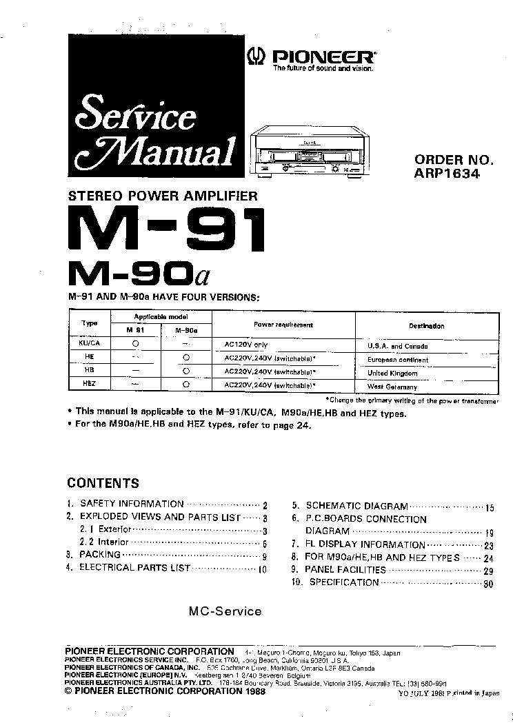 PIONEER M-90A M-91 Service Manual download, schematics
