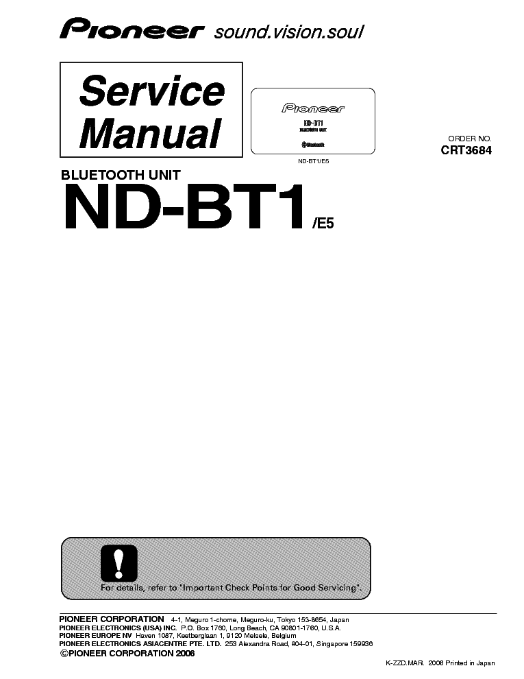 PIONEER ND-BT1-E5 BLUETOOTH-UNIT SM Service Manual