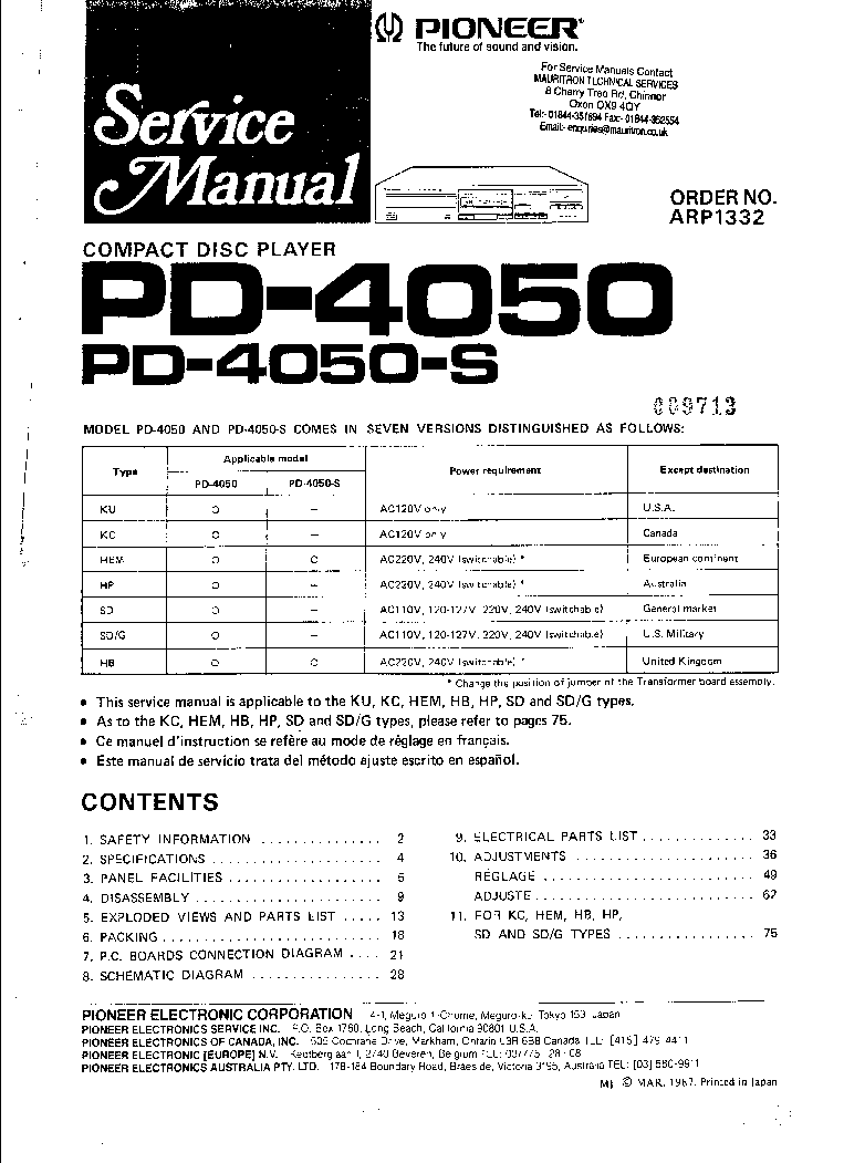 PIONEER A119 A229 Service Manual download, schematics