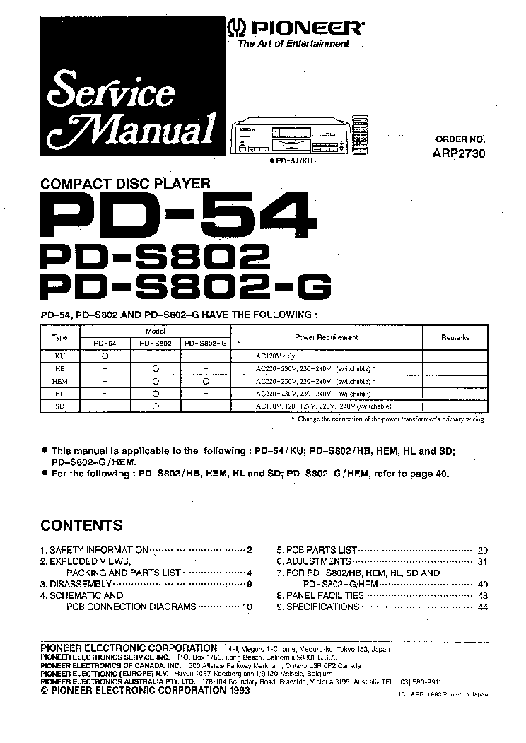 PIONEER PD-54 S802-G SM Service Manual download